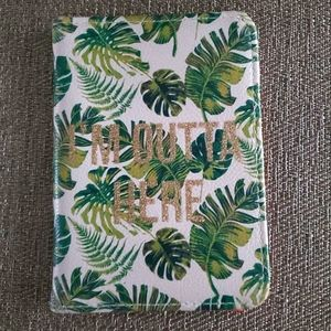 Green and white passport holder wallet palm leaves